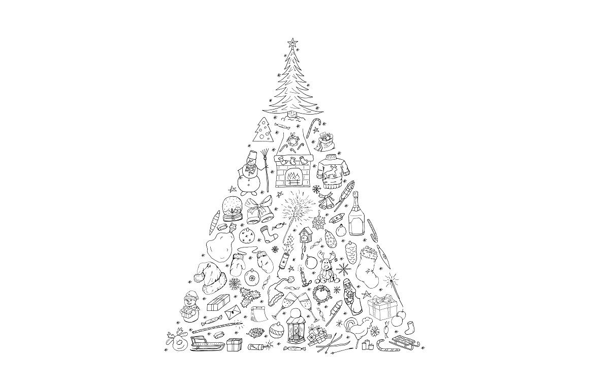 Christmas Tree. Hand drawn elements example image 1
