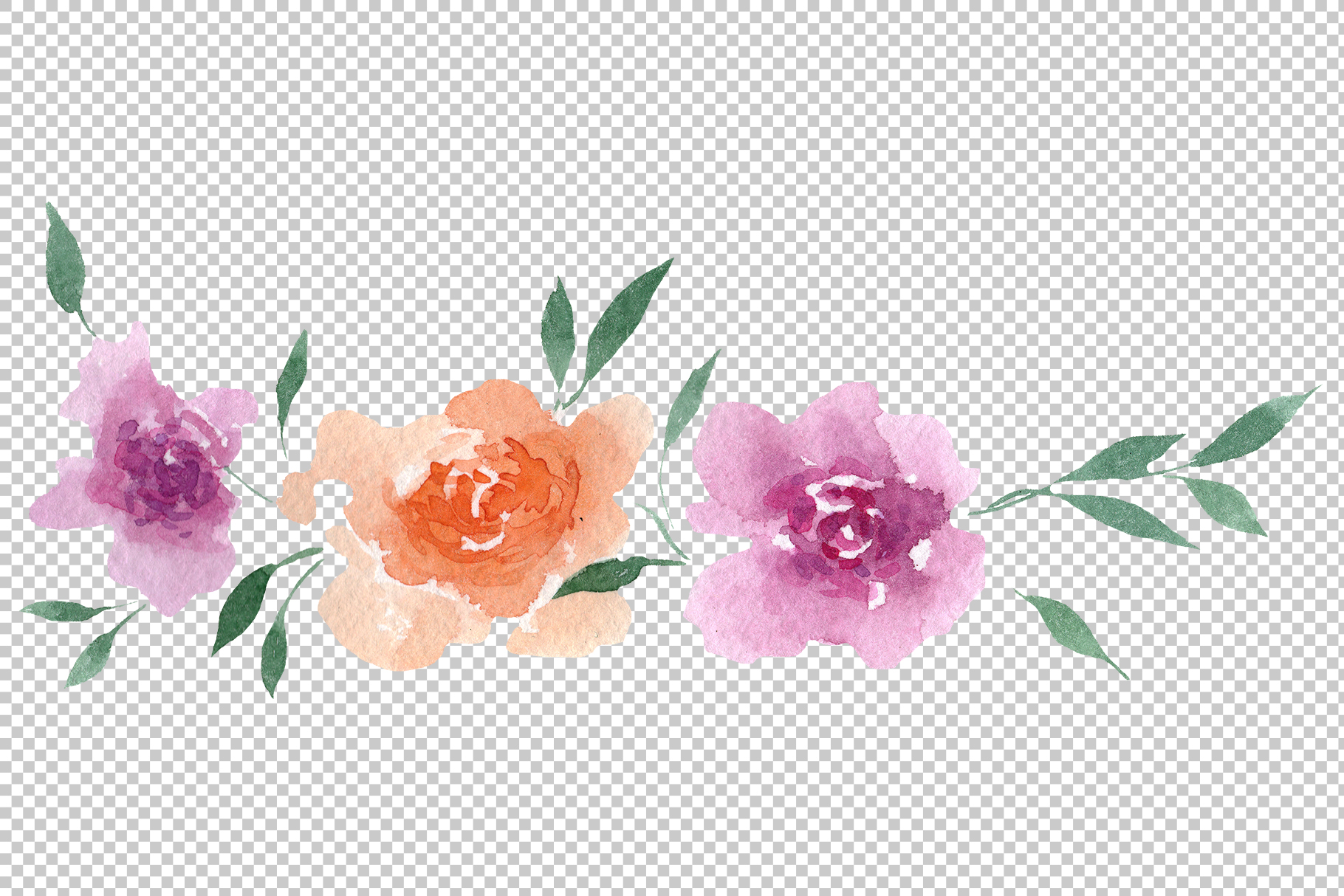 Delicate colorful peony PNG watercolor set example image 13