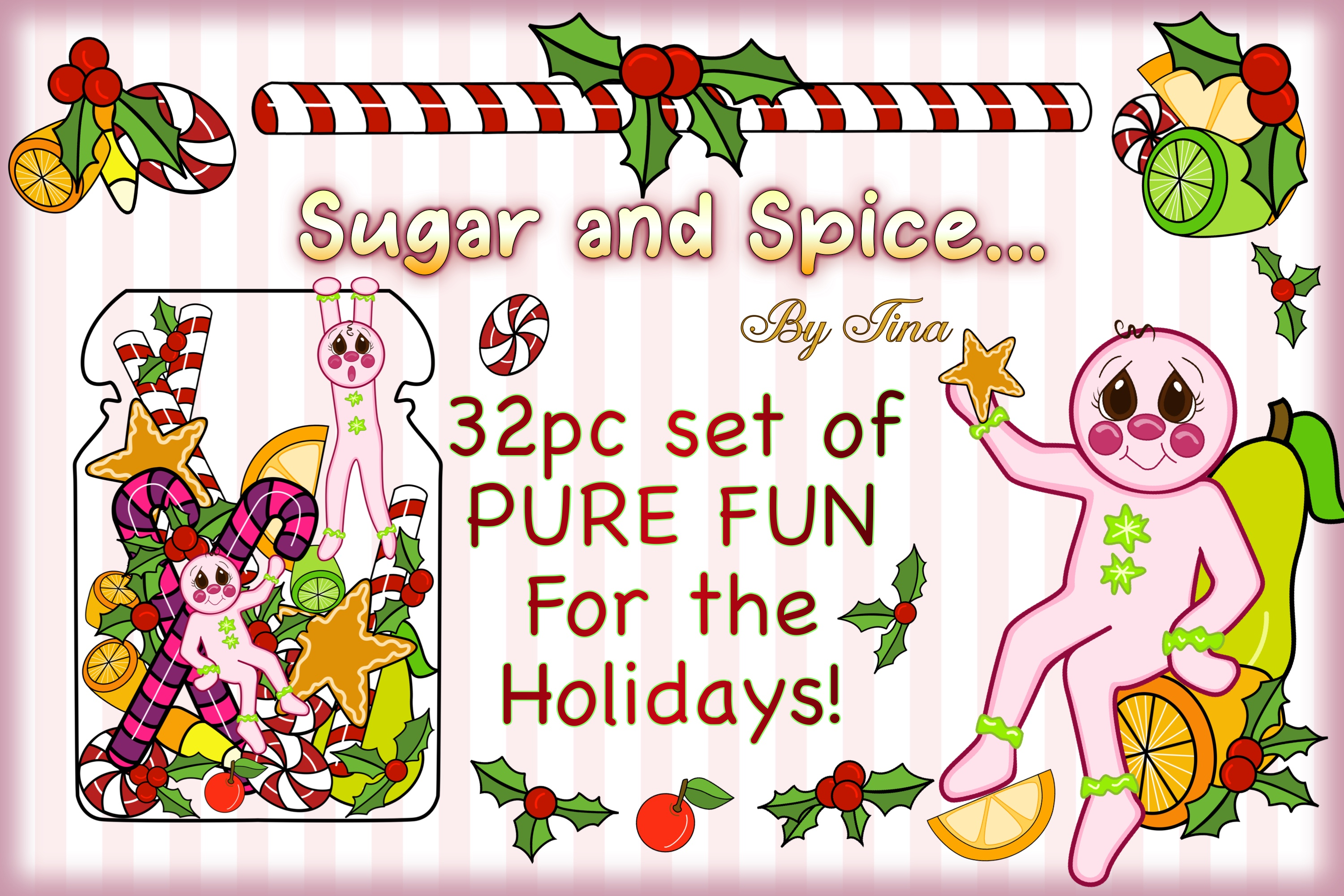 Christmas Sugar and Spice Pink Gingerbread Men 111218SSGB example image 3