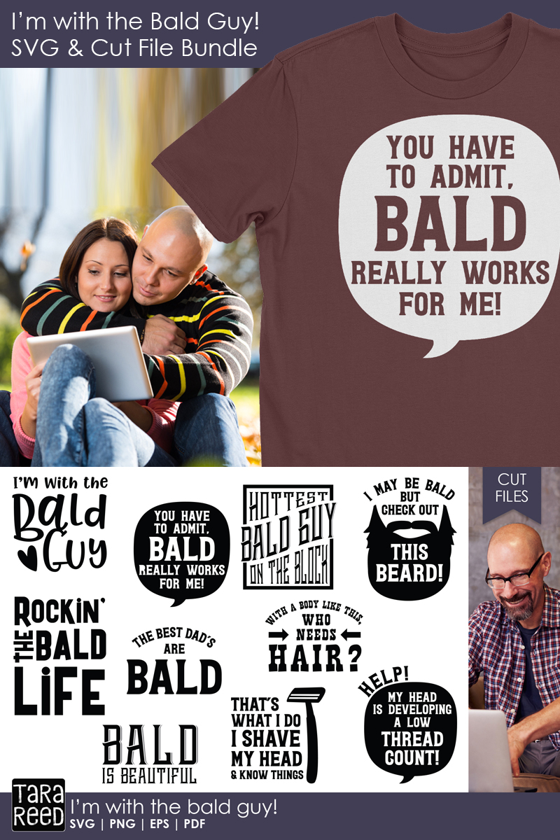 I'm with the Bald Guy - Bald SVG and Cut Files for Crafters example image 2