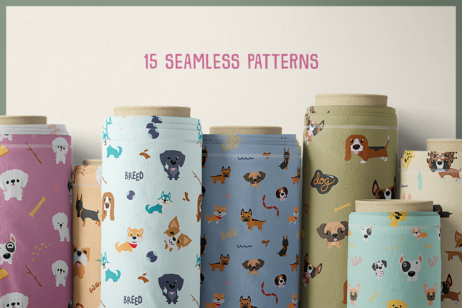 80 Cute Dog Vector Clipart & Seamless Patterns example image 7