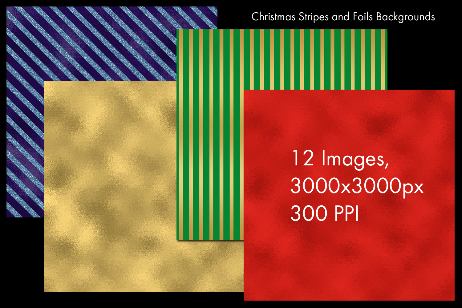 Christmas Stripes and Foils Backgrounds - 12 Image Set example image 2