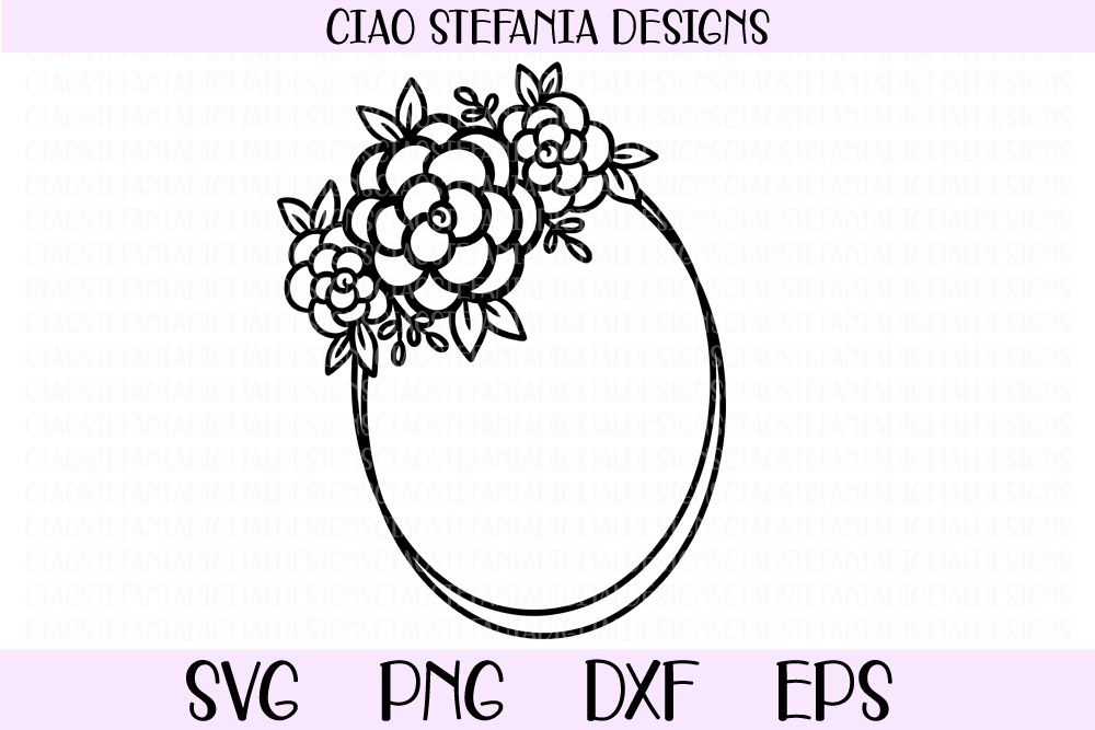 Flower Geometric Oval Frame Wedding SVG PNG DXF EPS Cut example image 1