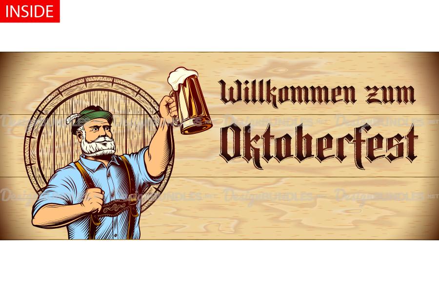 Vector Flyer Invite Copyspace Beer Glass Oktoberfest Man example image 3