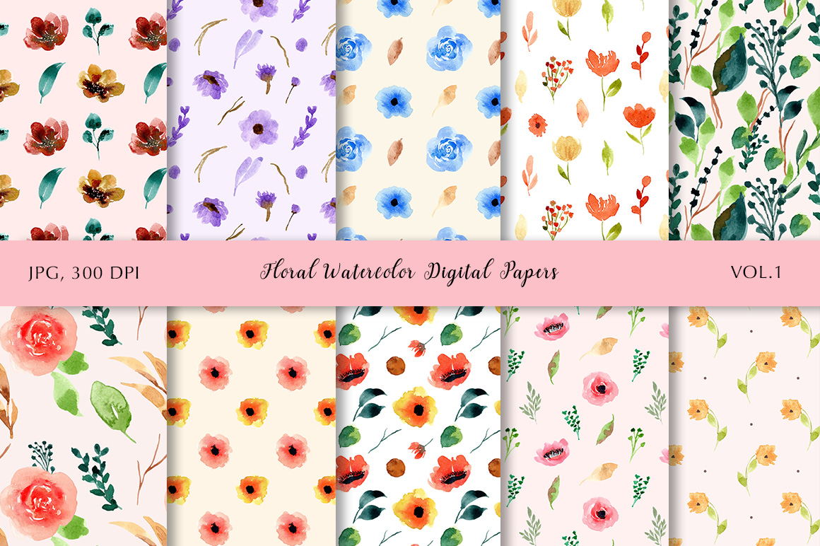 Floral Watercolor Digital Papers Vol.1 example image 1
