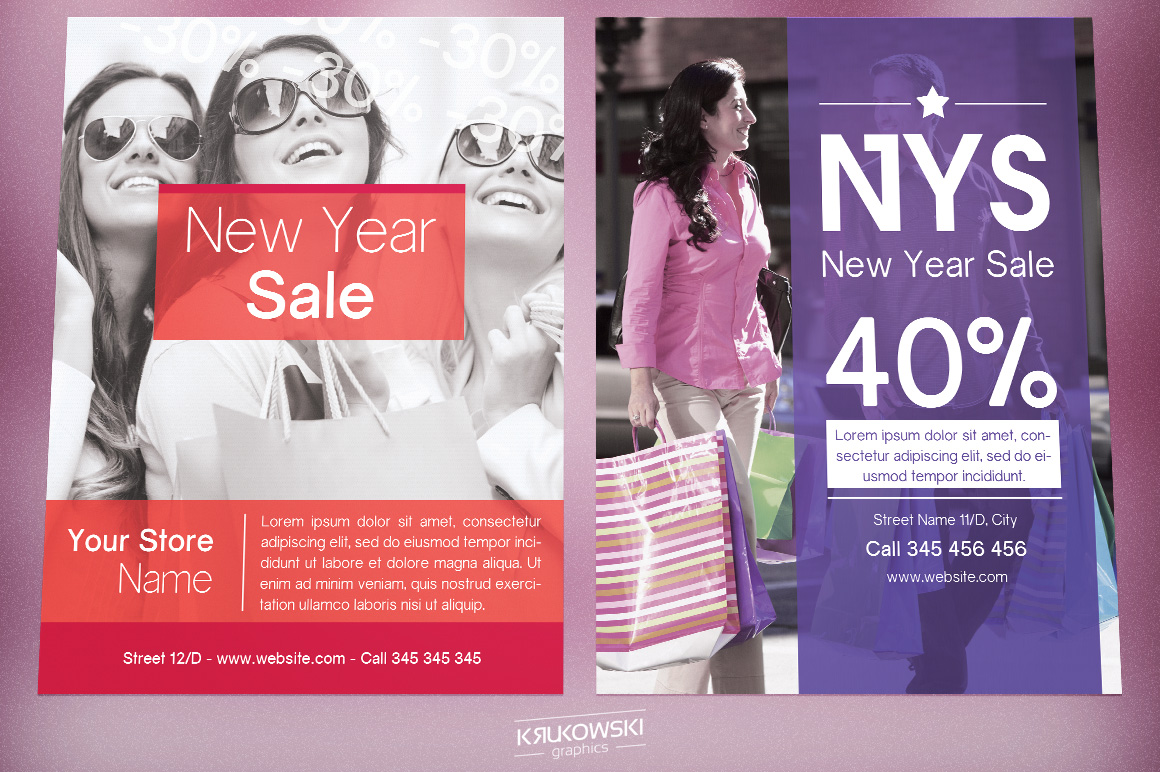 New Year Sale Flyers Bundle example image 3