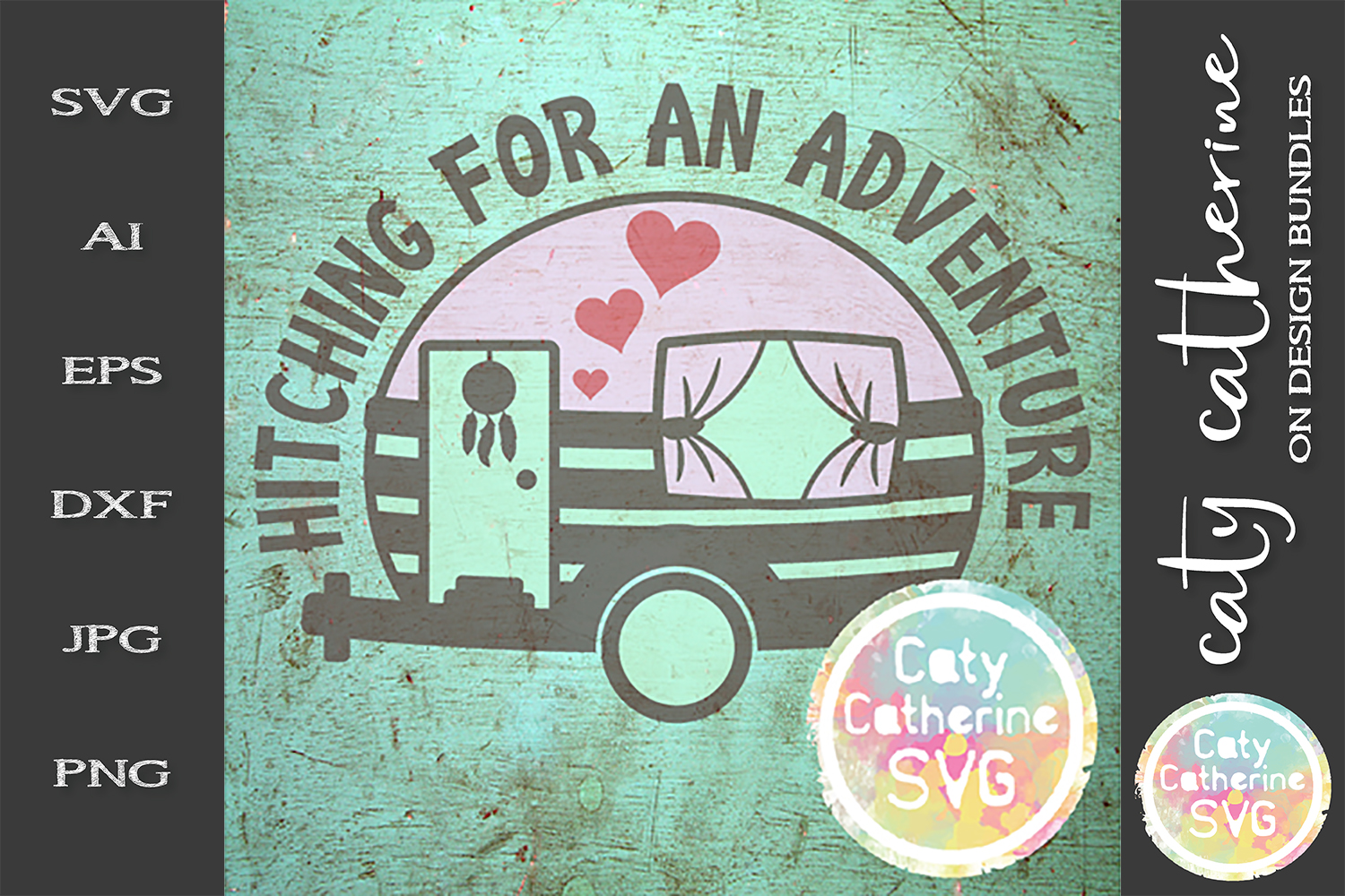 Hitching For An Adventure Caravan Camping SVG Cut File example image 1