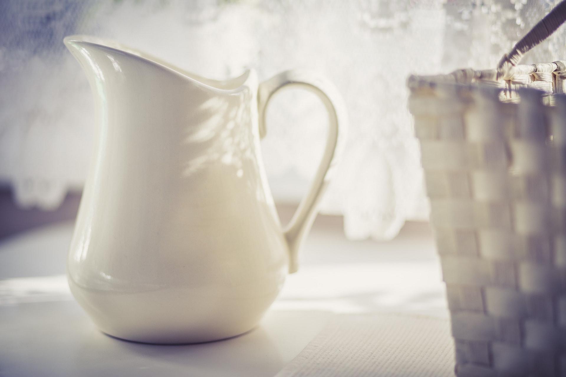 Milk Jug behind Basket - Cold Tone