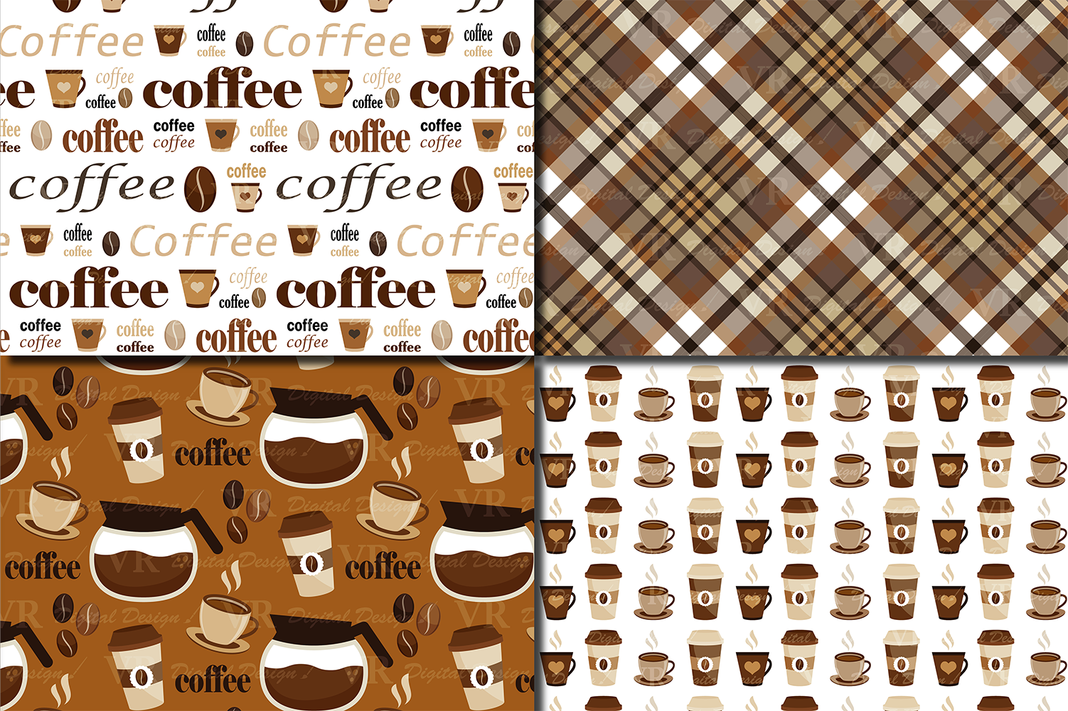 Coffee Digital paper pack / Coffee beans pattern / Coffee backgrounds / Brown Scrapbooking paper example image 2