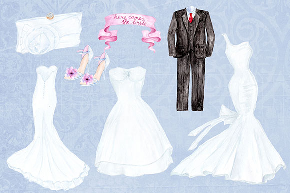 Watercolor wedding dresses clipart example image 3