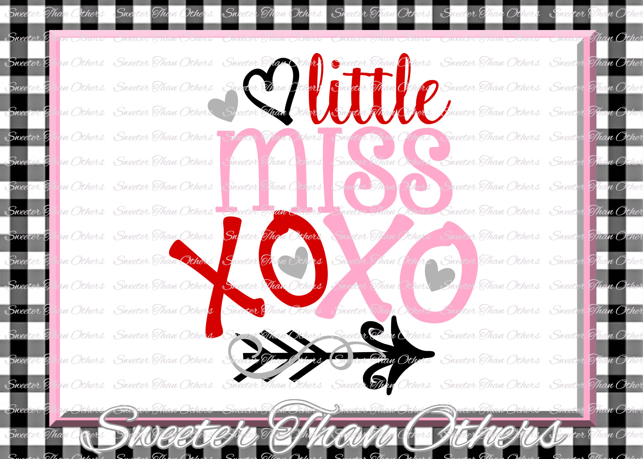 Little Miss XOXO Svg, Hugs and Kisses Svg example image 1