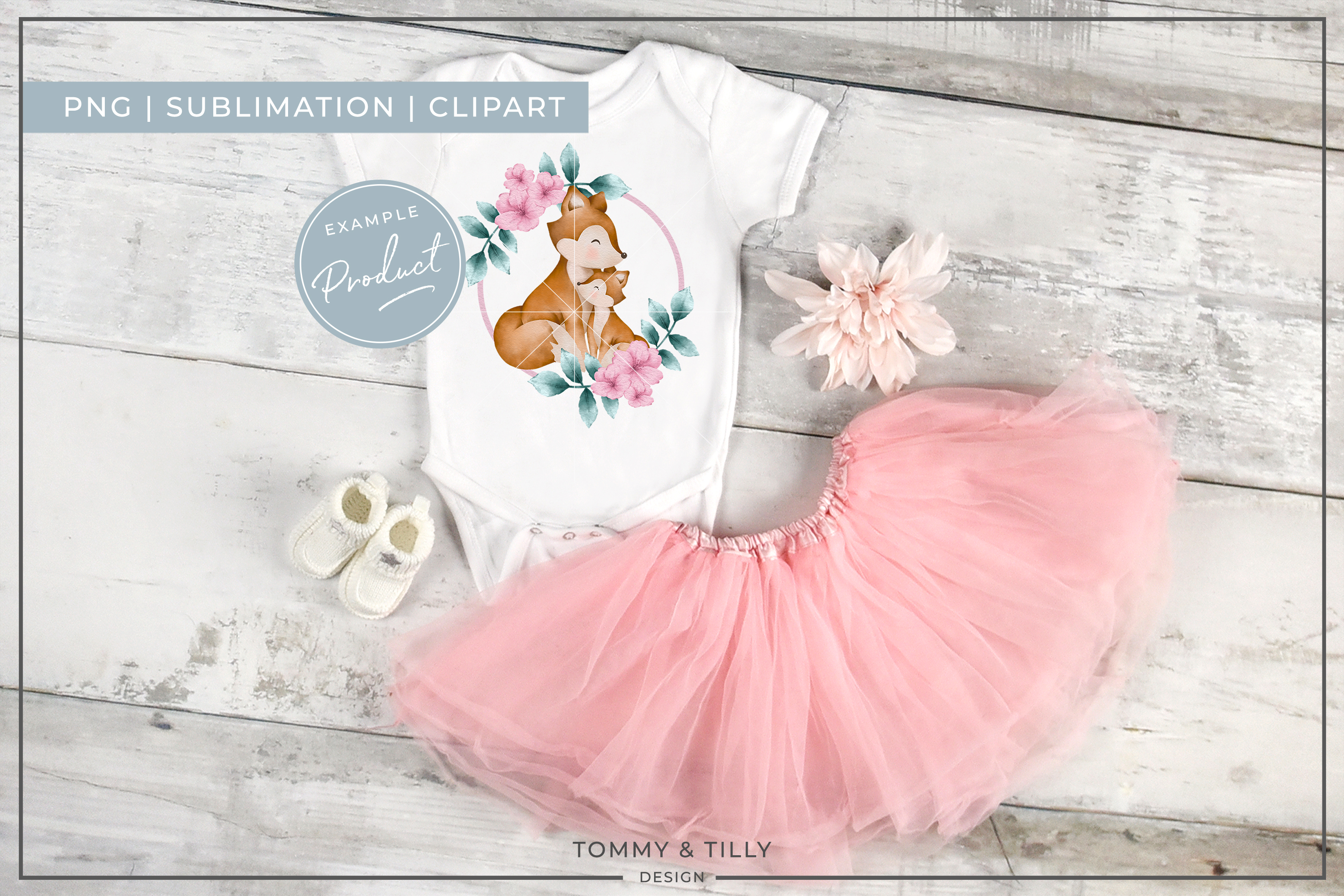 Wreath Mummy and Baby Fox - Sublimation PNG Clipart example image 4