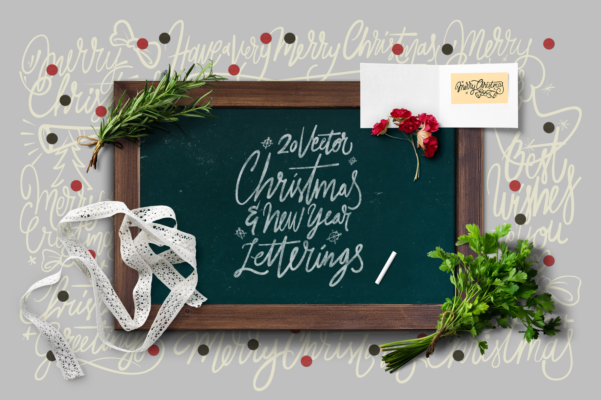 20 Christmas & NYE Letterings Vector example image 1