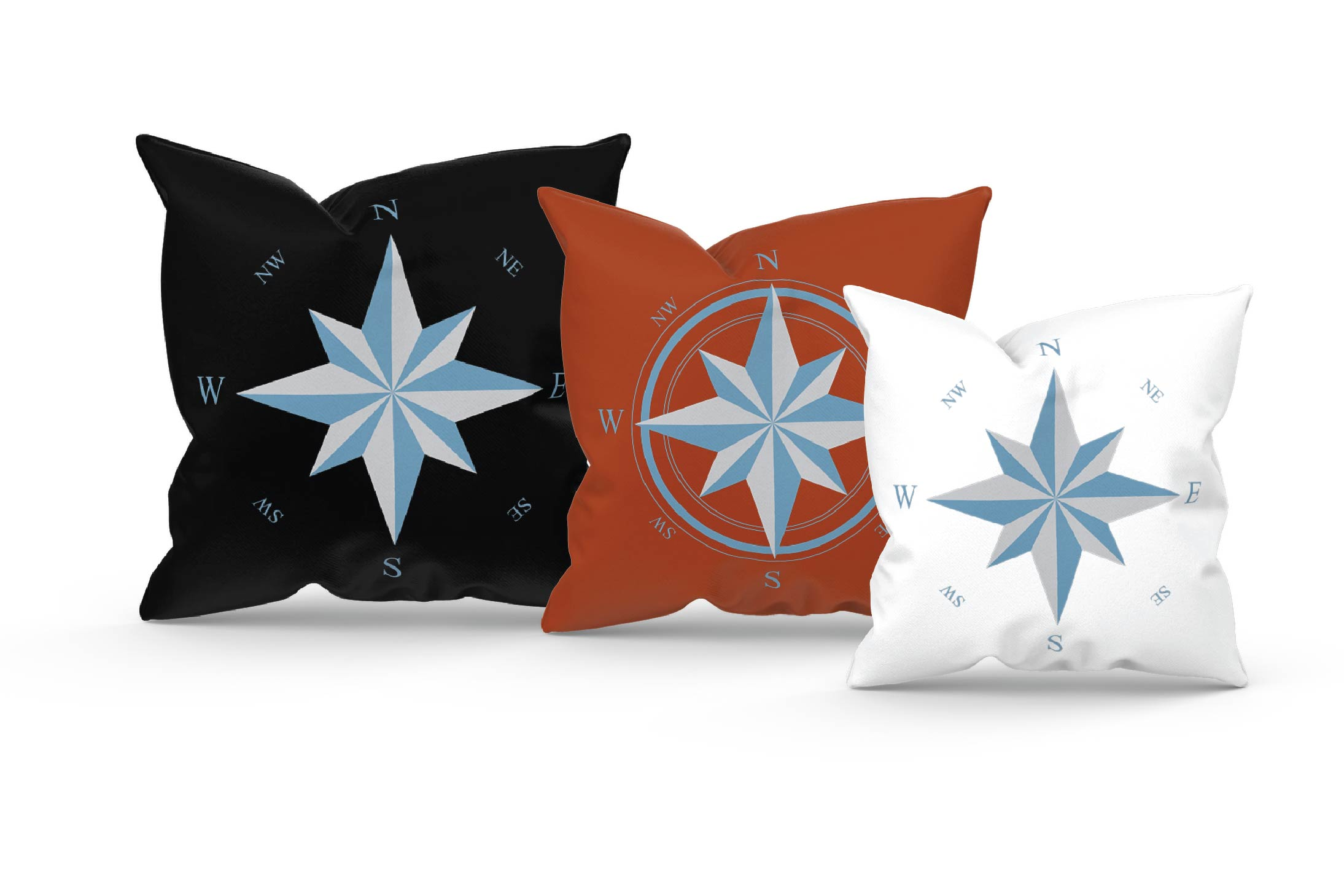 Compass rose navigation silhouette. Travellers decoration. example image 11