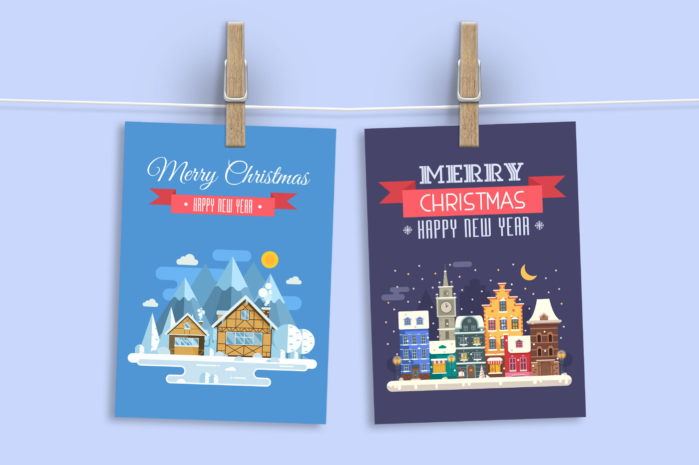 New Year and Christmas Cards with Europe Cities example image 3