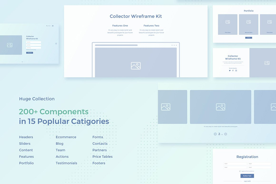 Collector Wireframe Web Kit example image 2