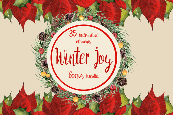 Winter Joy - 35 Watercolor Set example image 1