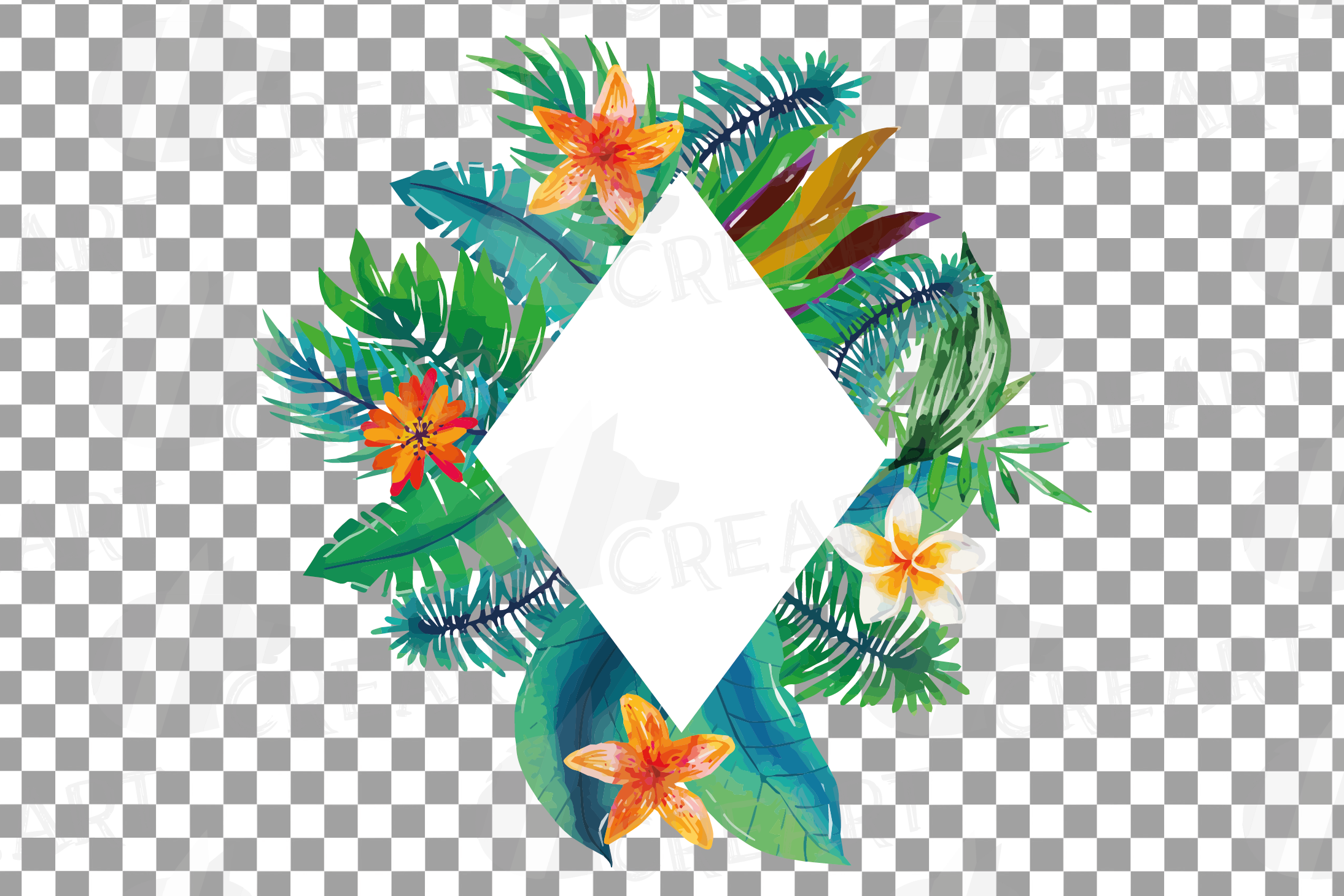 Watercolor tropical navy blue and green exotic floral frames example image 19
