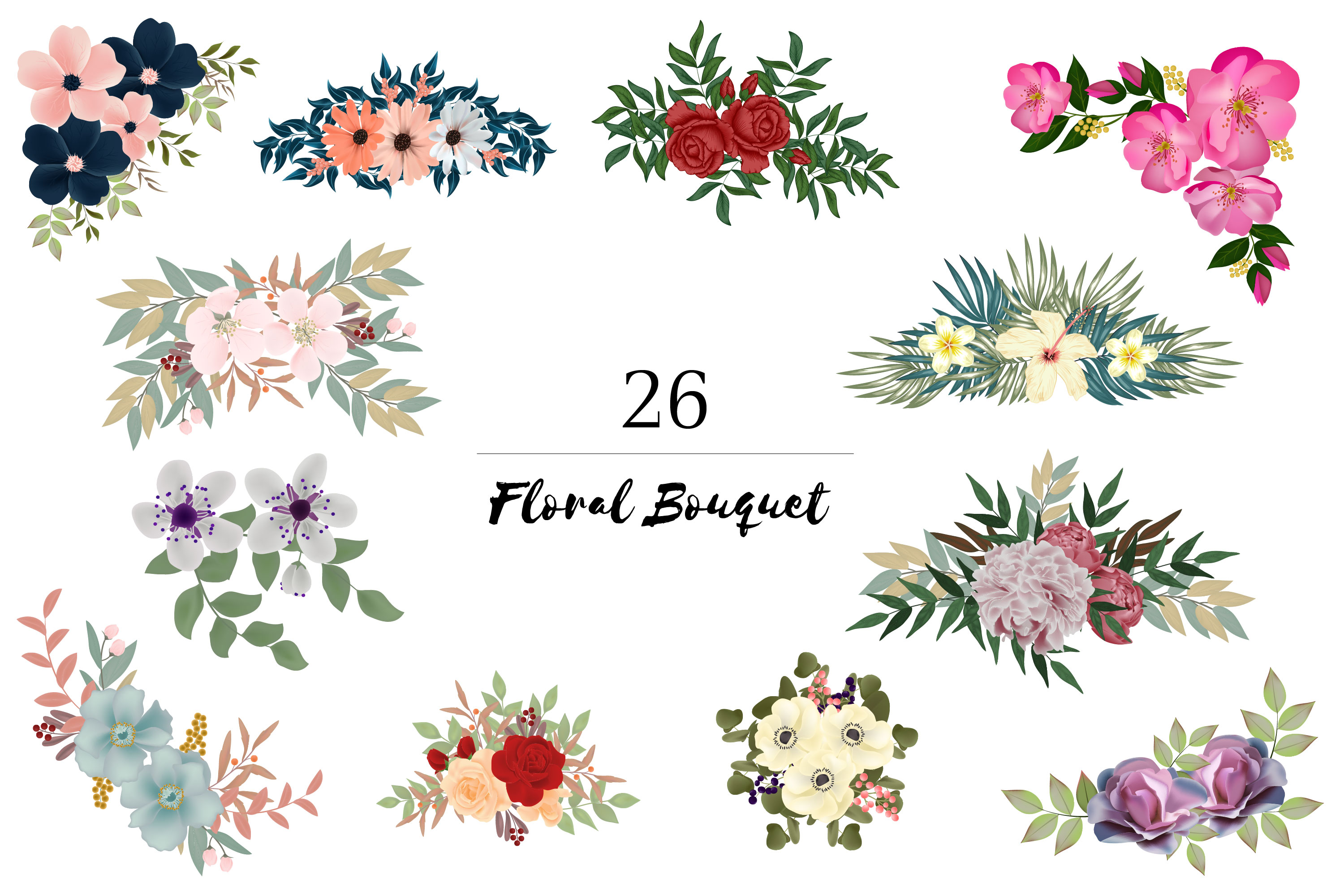 150 Flower and Floral Vector Illustration Element example image 2
