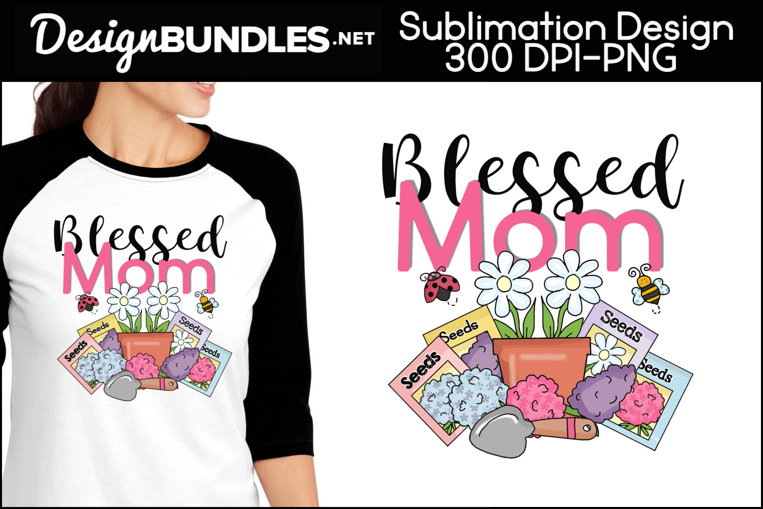 Blessed Mom Sublimation Design example image 1