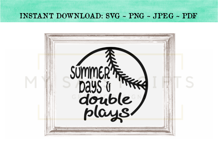 Summer Days And Double Plays Baseball SVG example image 2