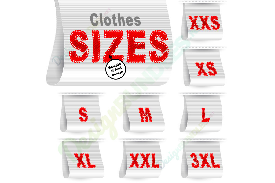 Vector Clothes Size Label Marketing Tag Sticker Sewn Set White example image 1