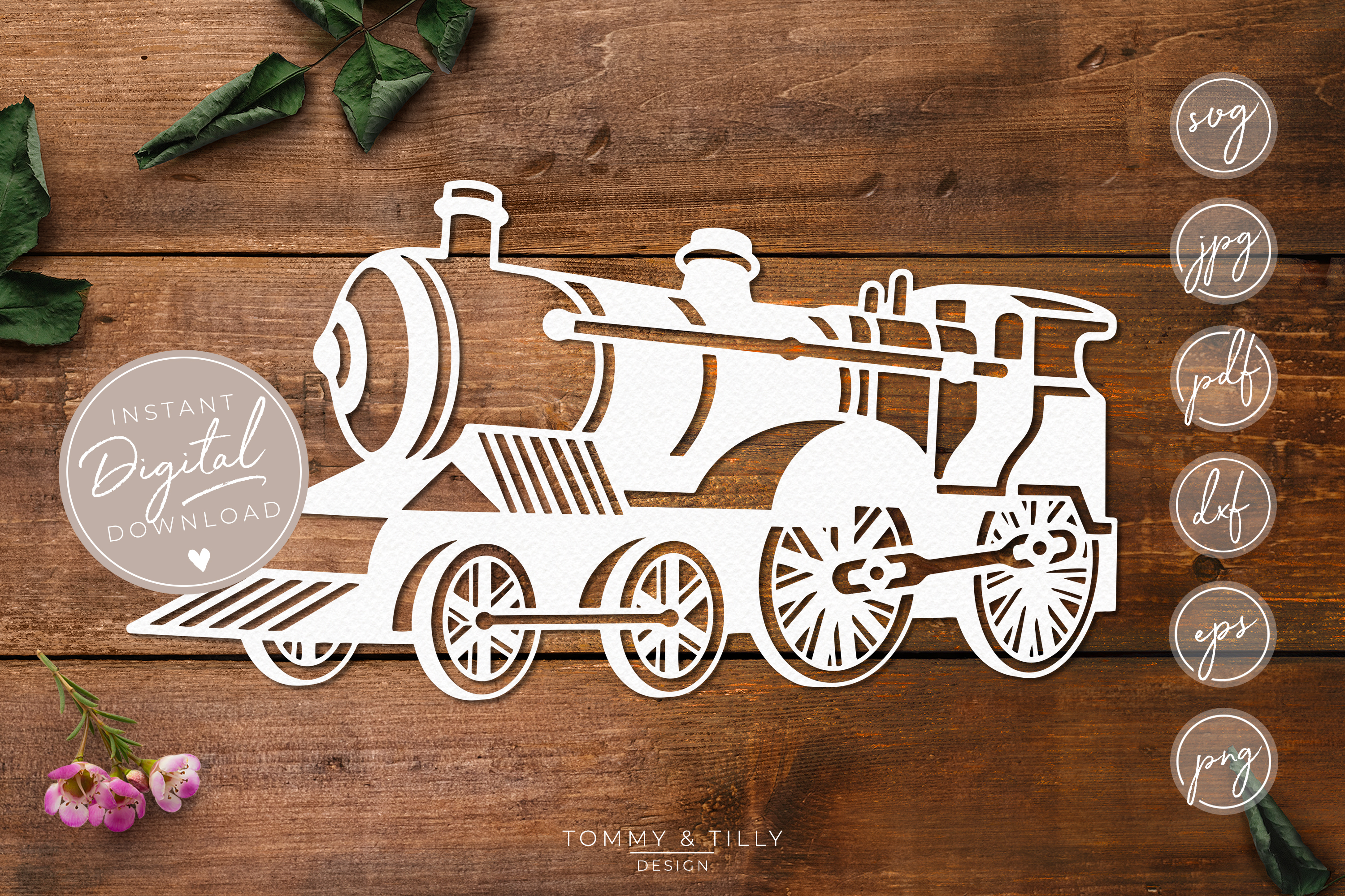 Steam Train- SVG EPS DXF PNG PDF JPG Cut File example image 1