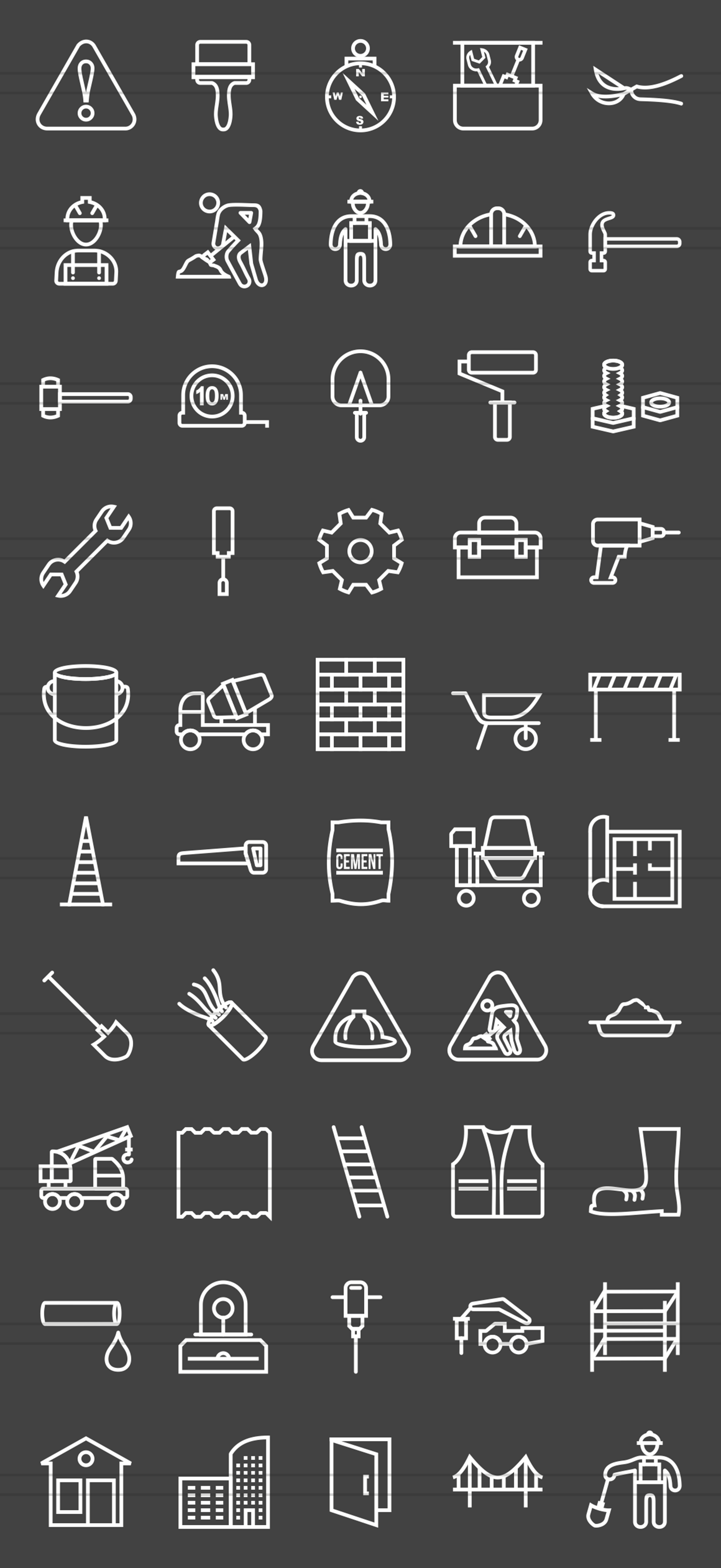 50 Construction Line Inverted Icons example image 2