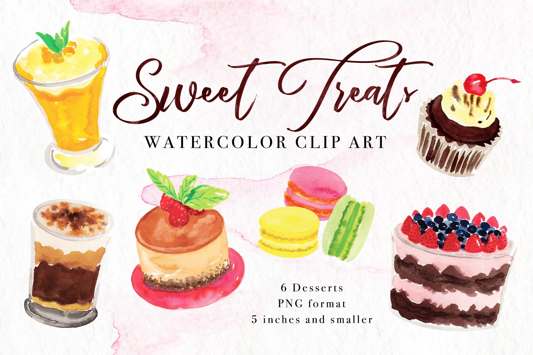 Sweet Treats Watercolor Clip Art example image 1