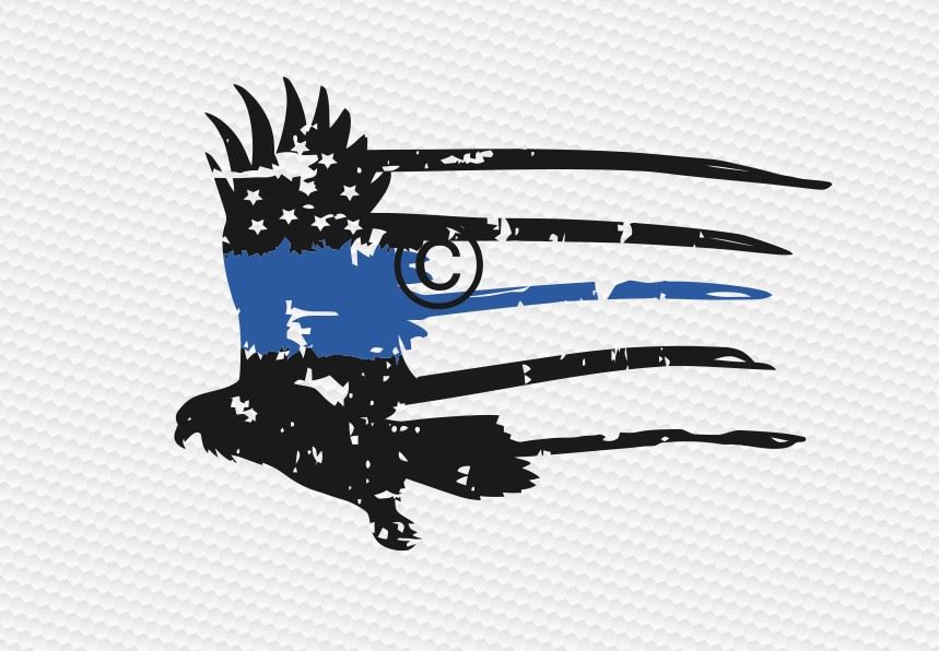 eagle distressed thin blue line  example image 2