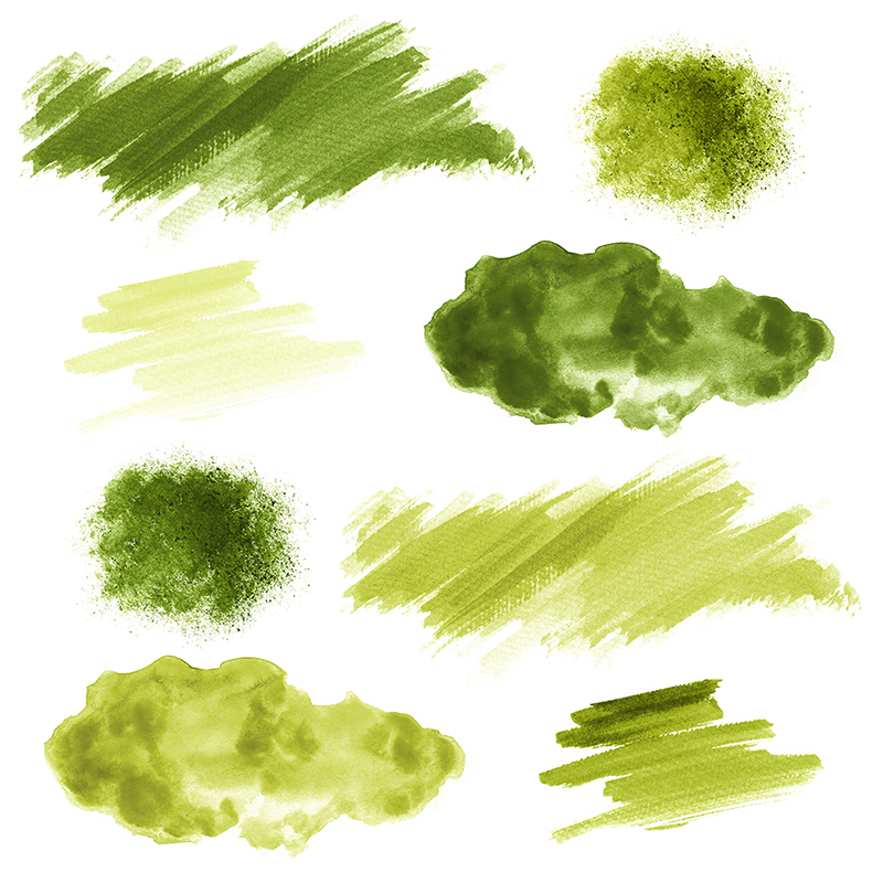 16 Green Watercolor Design Elements example image 2