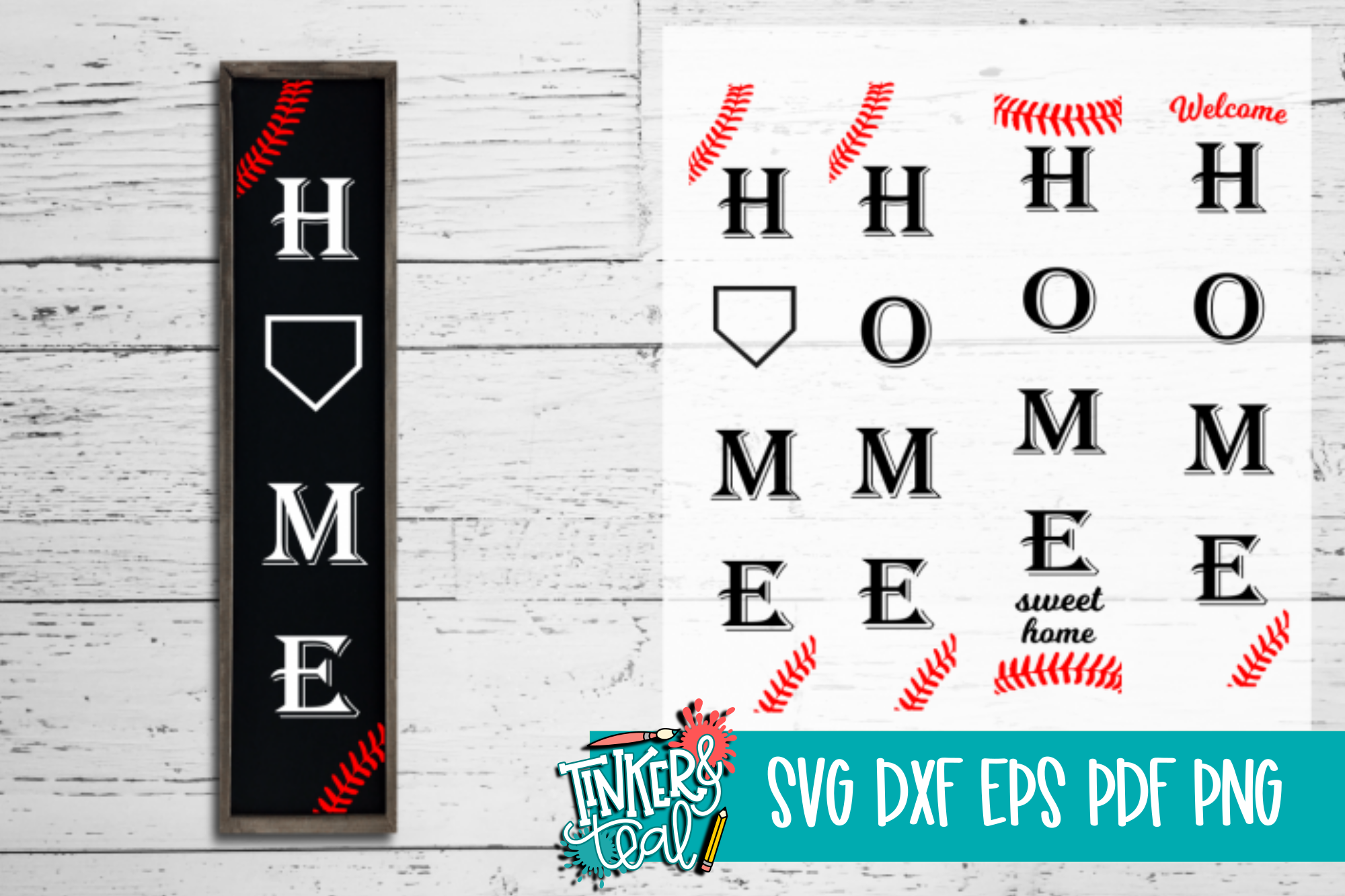 Home Baseball SVG DXF example image 1