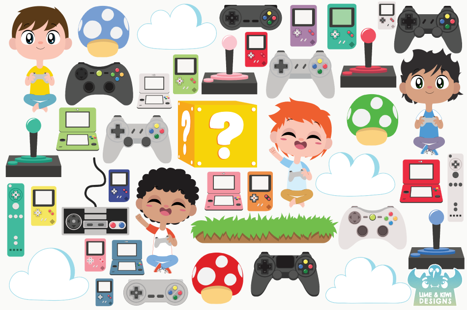 Gamer Boys Clipart, Instant Download Vector Art example image 2