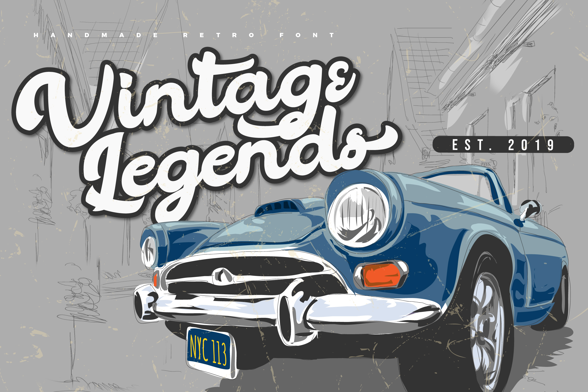 Vintage Legends | Handwritten Retro Font example image 1