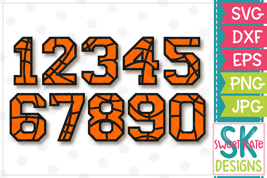 Basketball Numbers 0-9 SVG DXF EPS PNG JPG example image 2