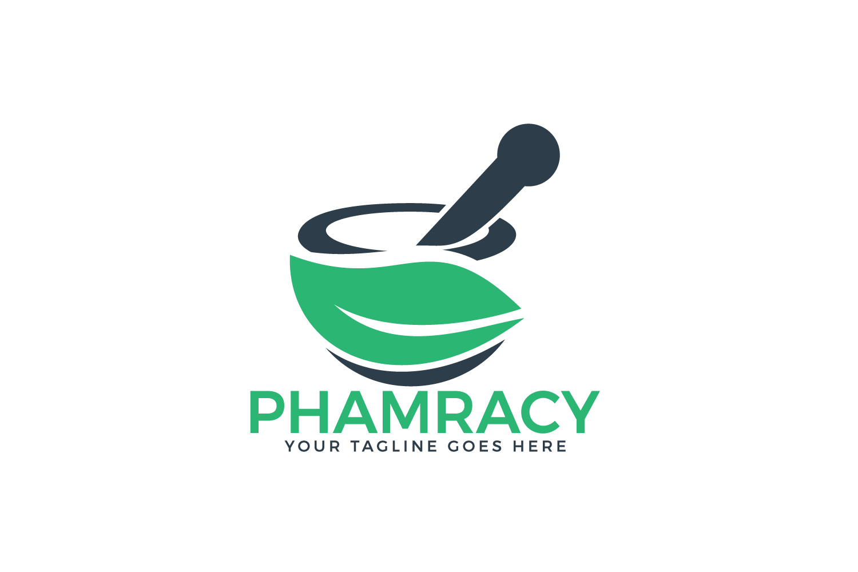Pharmacy medical logo. Natural mortar and pestle logo. example image 2