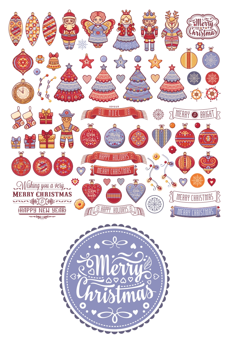 Christmas decor and lettering greeting card. example image 4