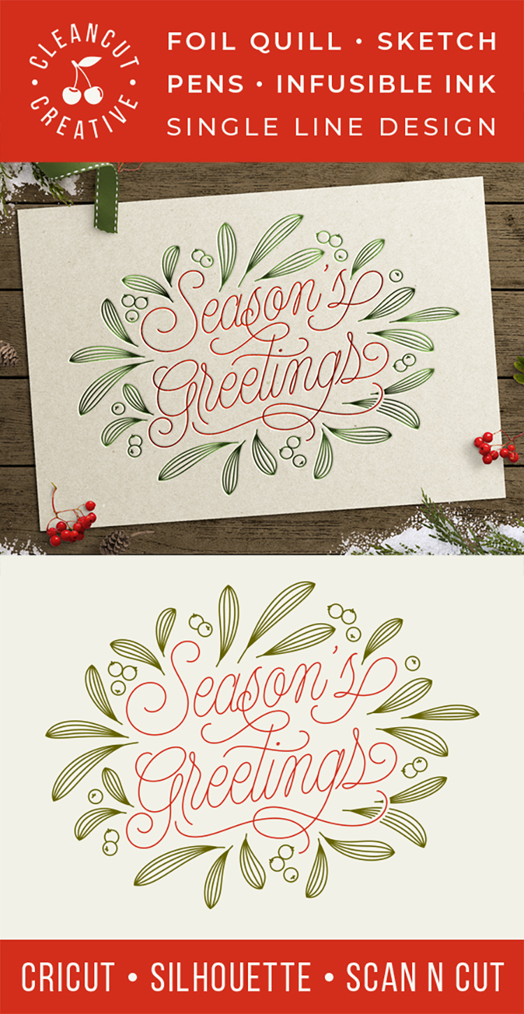 Foil Quill Season's Greetings single line Christmas file SVG example image 3