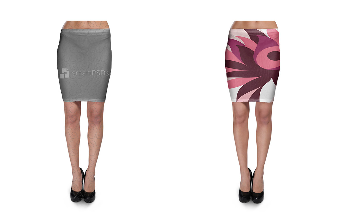 Bodycon Skirt Design Mockup for Sublimation Cloth Printing - 2 Views example image 1