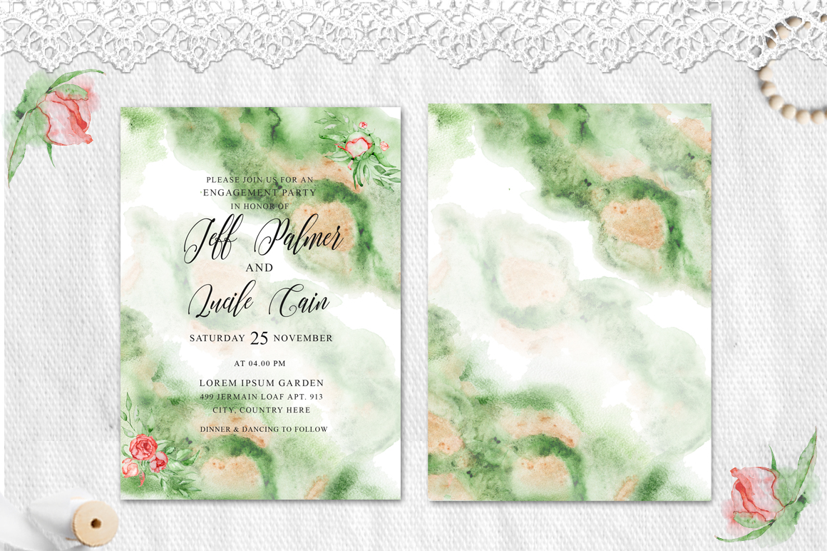 Gold Greenery floral Watercolor Wedding Invitation suite example image 4