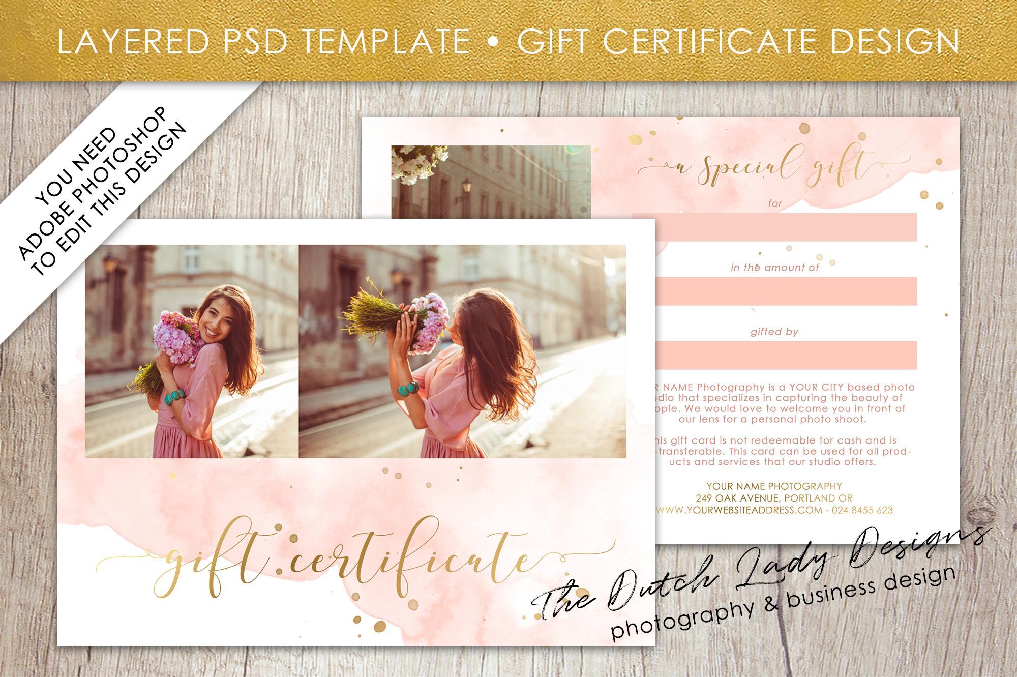 Photo Gift Card Template For Adobe Phot Design Bundles
