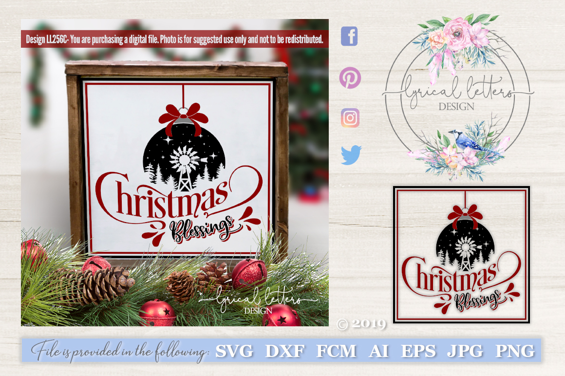 Farmhouse Christmas Blessings with Windmill SVG LL256C example image 1