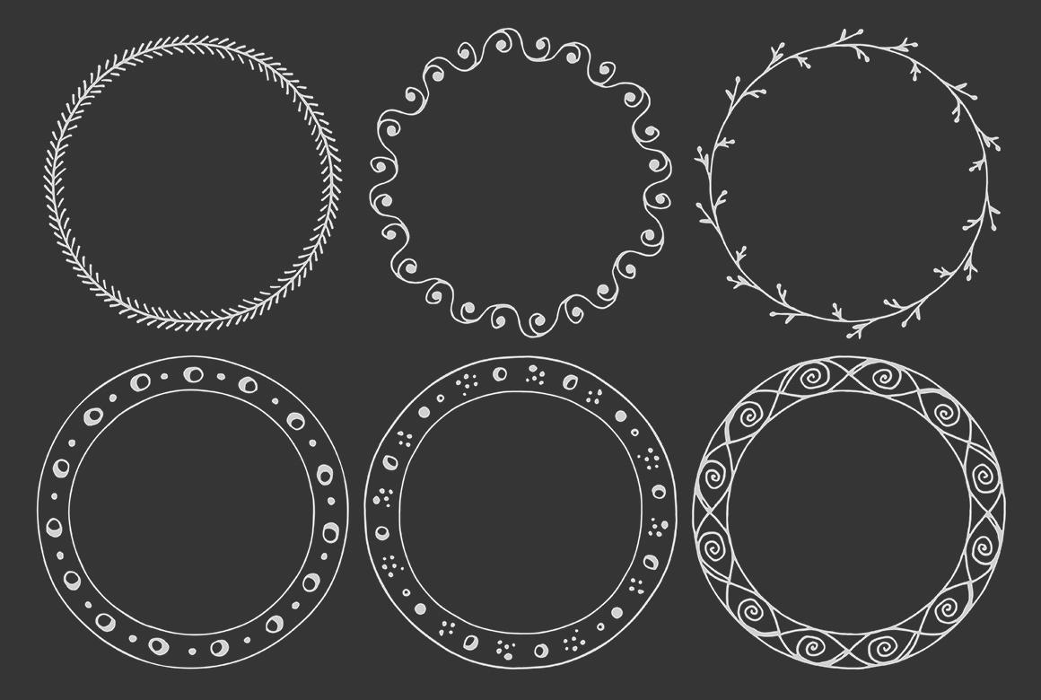 90 Hand Drawn Decorative Round Frames example image 4