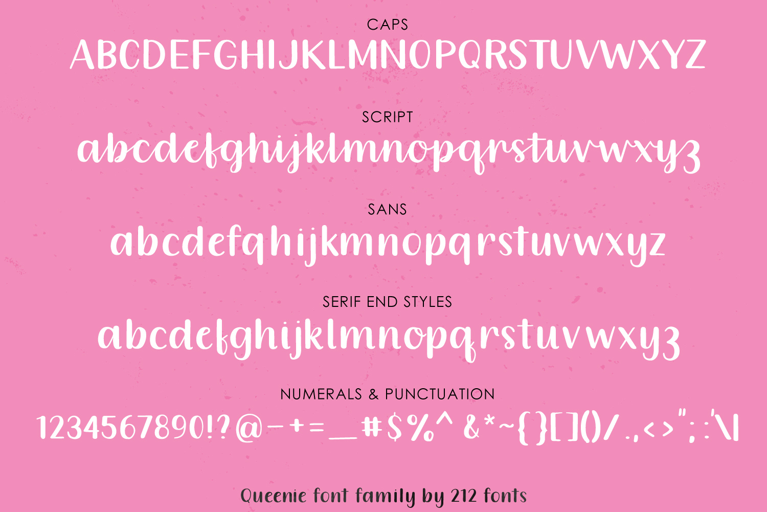 Queenie Font Family including Script, Sans, and Serif example image 3