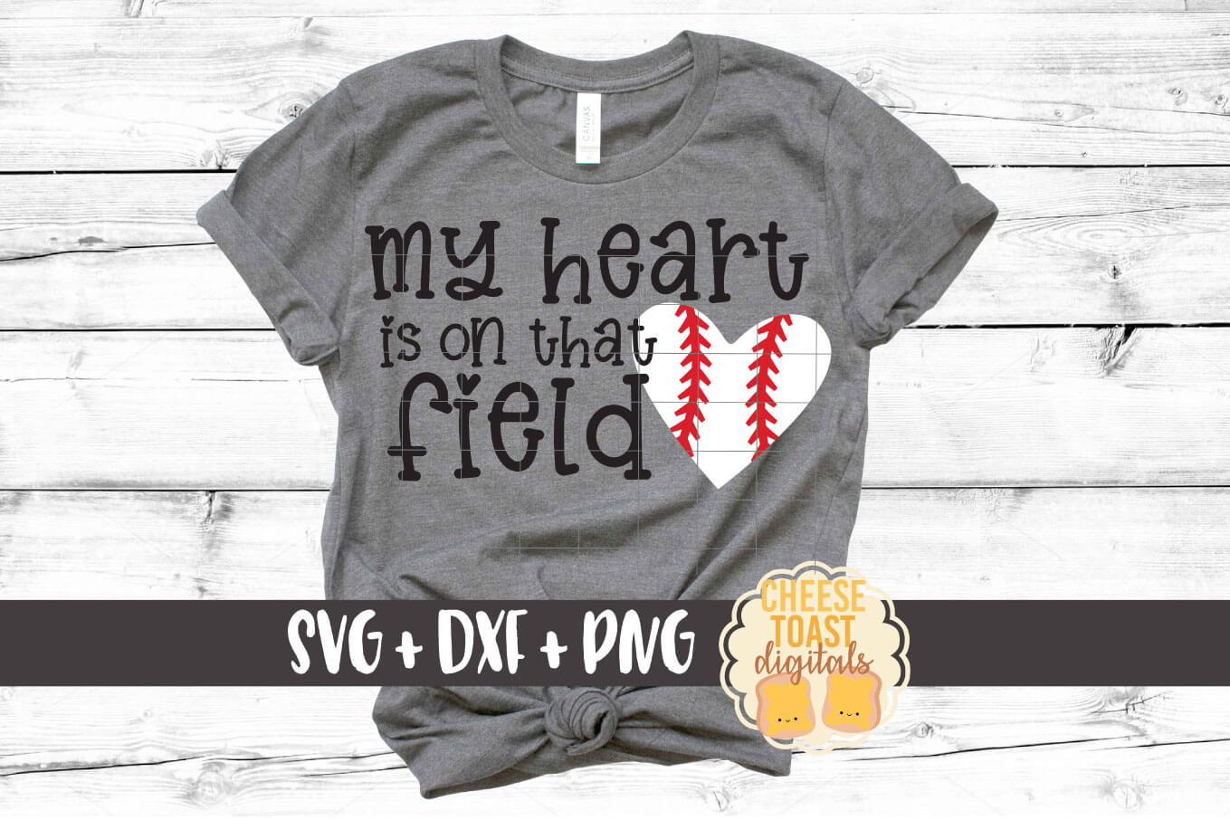 My Heart Is On That Field - Baseball SVG PNG DXF Cut File example image 1