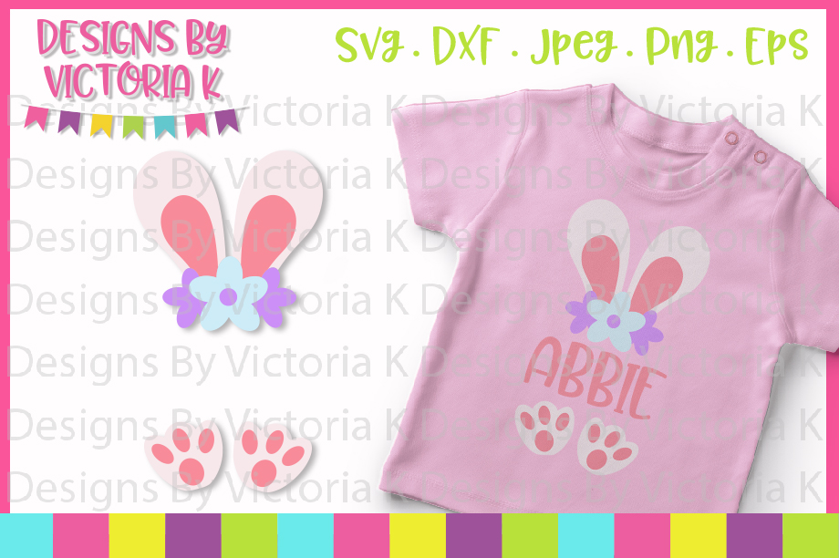 Easter, Bunny, Bunny Monogram, SVG, DXF, PNG example image 1