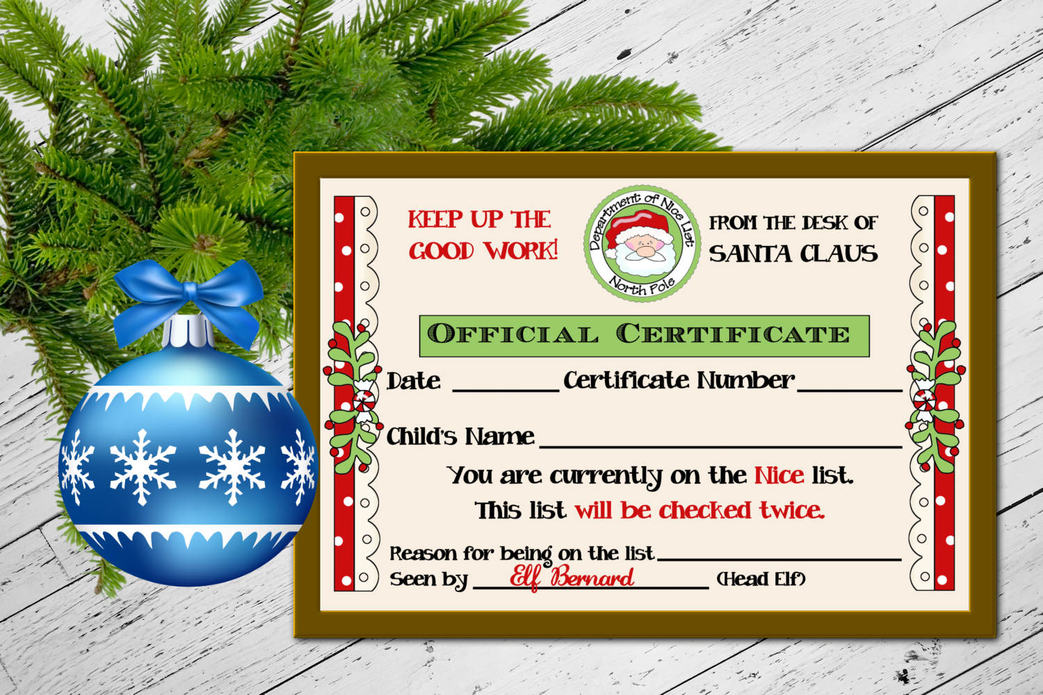 Santa's Nice List Certificate 4 x 6 inches example image 2