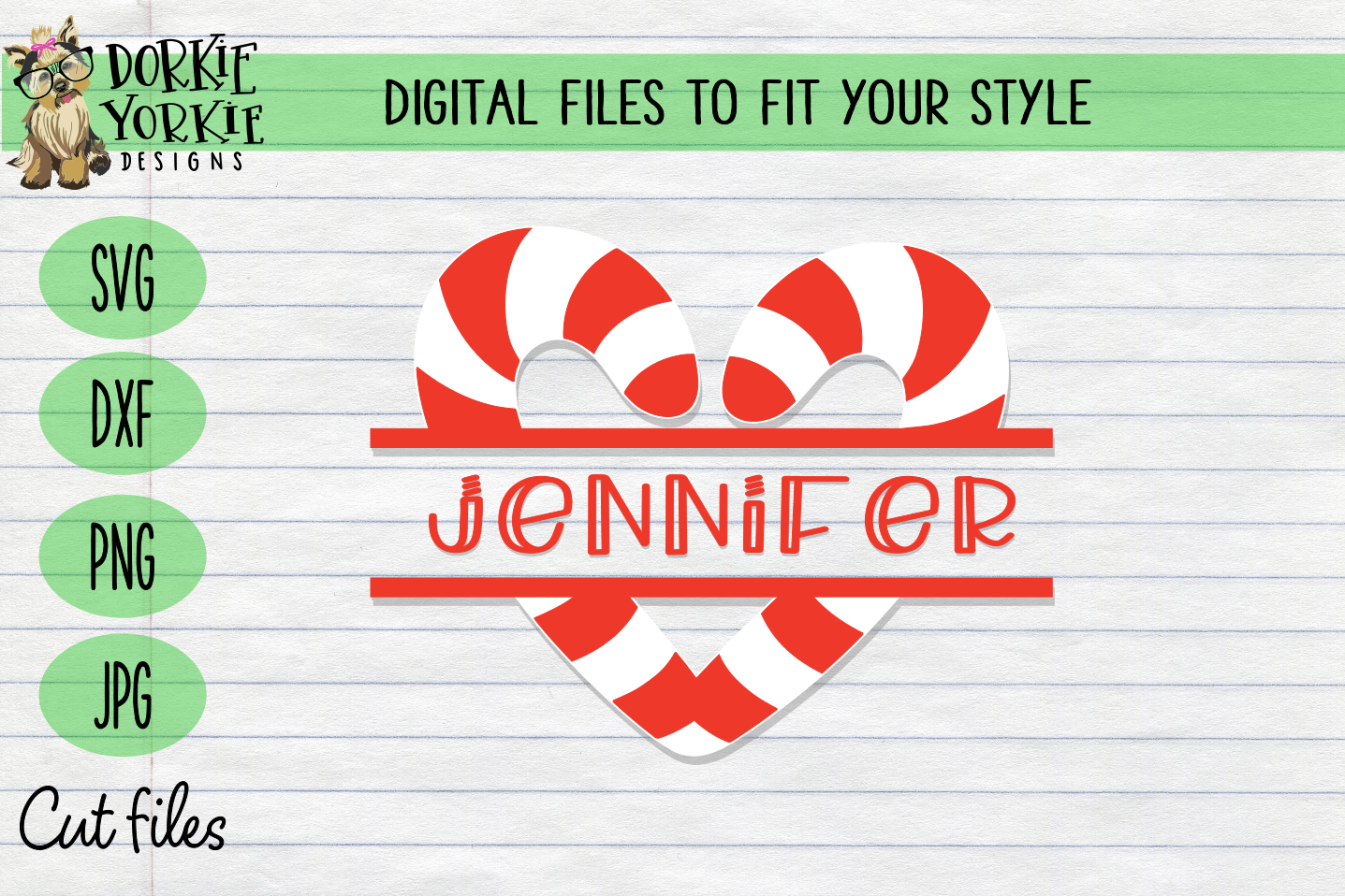 Candy Cane BUNDLE, Name, Heart, Cutie - Christmas, Xmas SVG example image 3