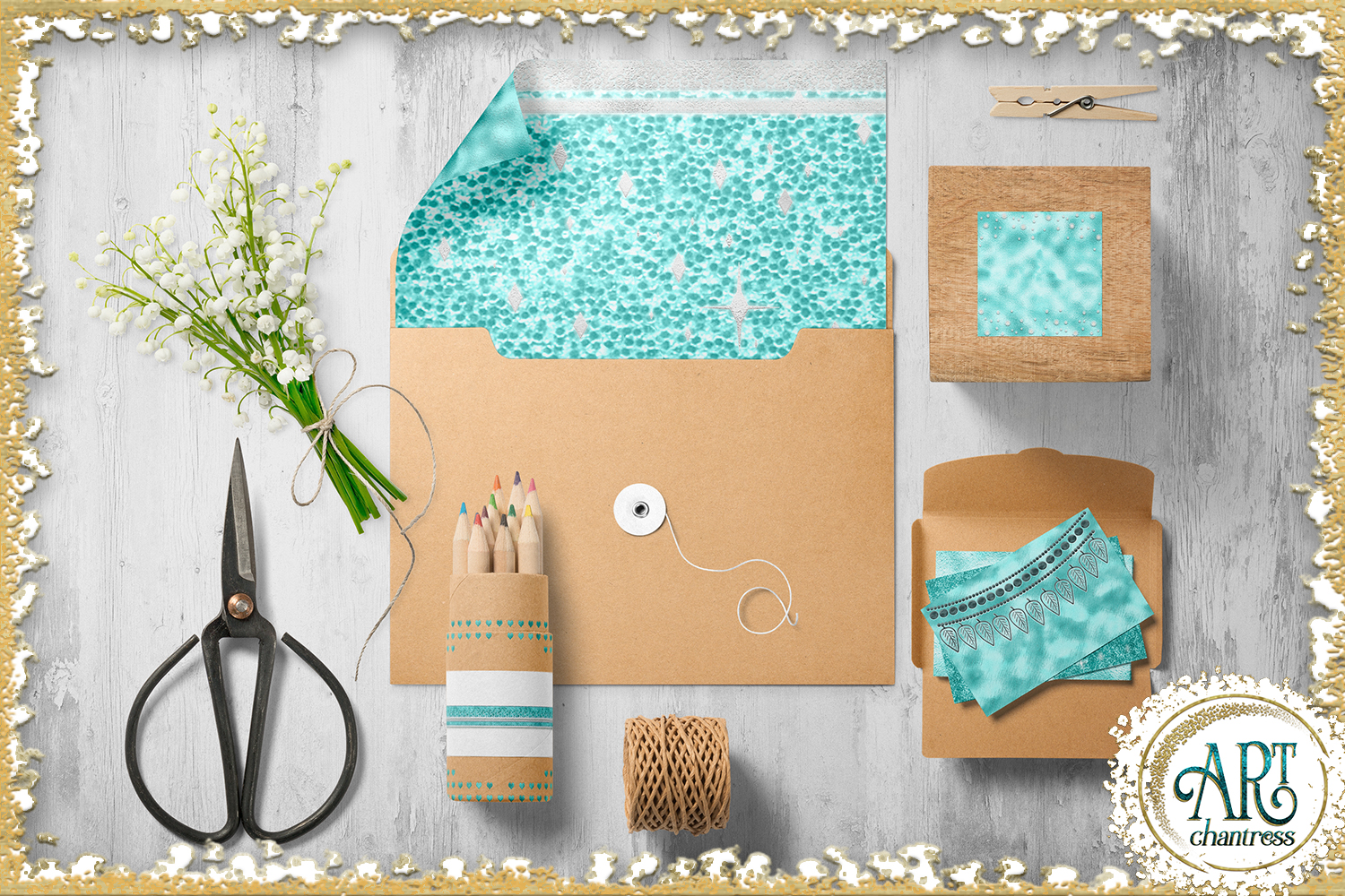 Teal Aqua Foil Glitter Seamless Digital Papers,Borders Set example image 9