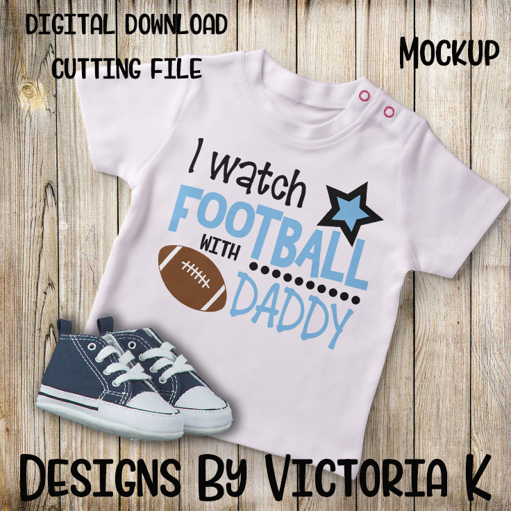I watch football with Daddy, Mommy, SVG, DXF, PNG example image 3
